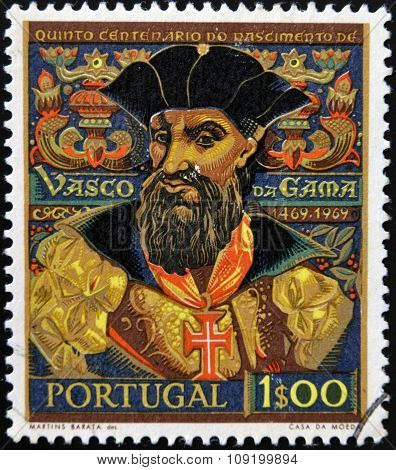 PORTUGAL - CIRCA 1969: A stamp printed in Portugal shows explorer Vasco da Gama circa 1969.