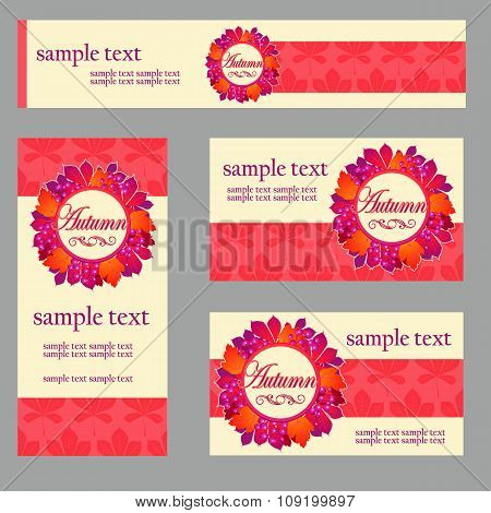 Set cards in the same style and different size and shape for your business needs, in red