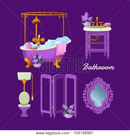 Interior vector objects for a bathroom
