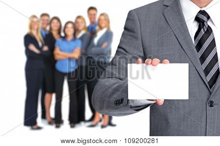 Businessman with a business card over people group background.