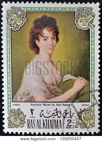 RAS AL KHAIMA - CIRCA 1972: A stamp printed in Ras Al Khaima shows painting of Hans Hansen
