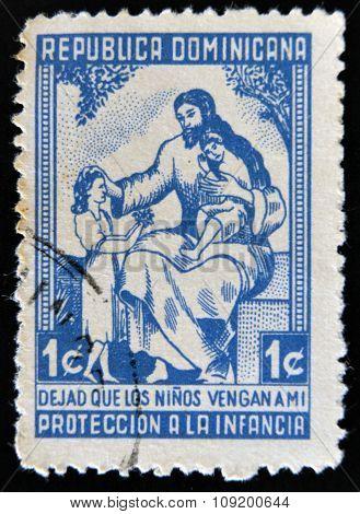 DOMINICAN REPUBLIC - CIRCA 1963: A stamp printed in Dominican Republic shows Jesus of Nazareth