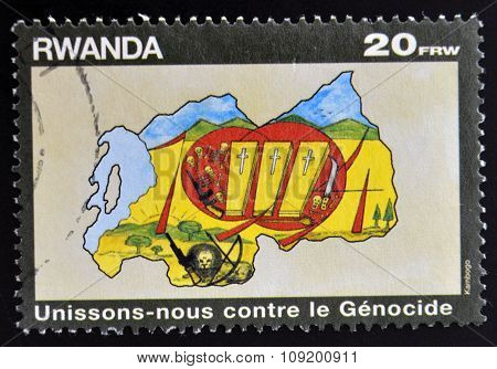 RWANDA - CIRCA 1990: A stamp printed in Rwanda dedicated to fight against genocide circa 1990