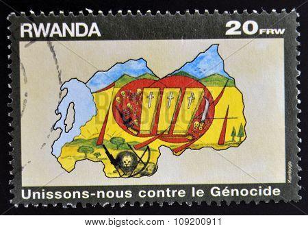 RWANDA - CIRCA 1990: A stamp printed in Rwanda dedicated to fight against genocide circa 1990