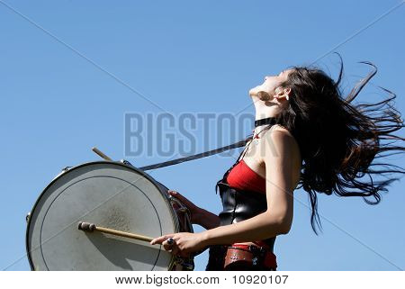 Girl Expressive Drumming