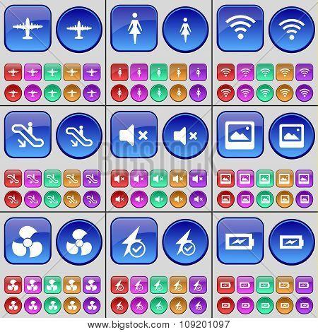 Airplane, Silhouette, Wi-fi, Escalator, Mute, Window, Screw, Flash, Charging. A Large Set Of Multi-
