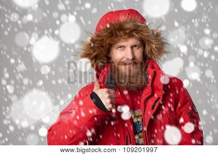 bright picture of handsome man in winter jacket