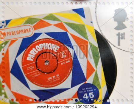 A stamp printedin Great Britain shows The Beatles Vinyl Record