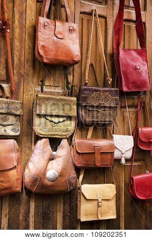 Leather bags for women in the bazaar of Essaouira,Morocco