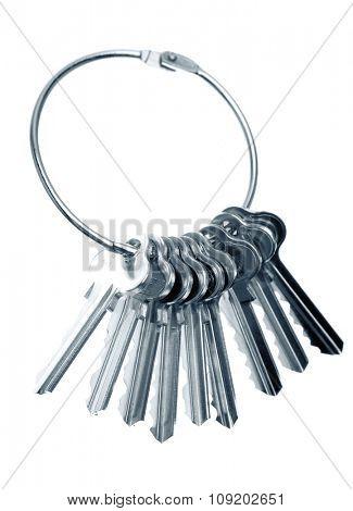 Bunch of keys on plain background