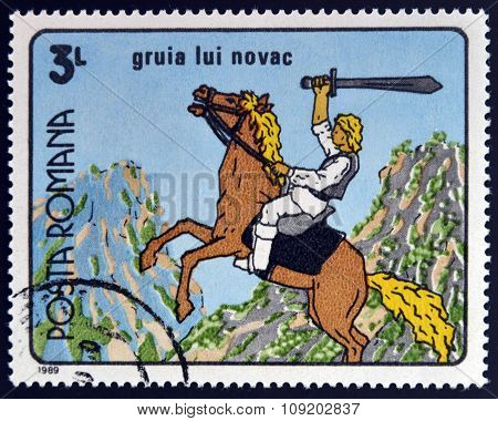 ROMANIA - CIRCA 1989: A stamp printed in Romania dedicated to Romanian cartoons shows Gruia Novac