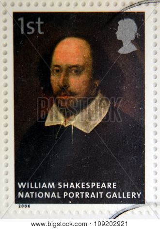 stamp printed in Great Britain dedicated to the national portrait gallery shows William Shakespeare