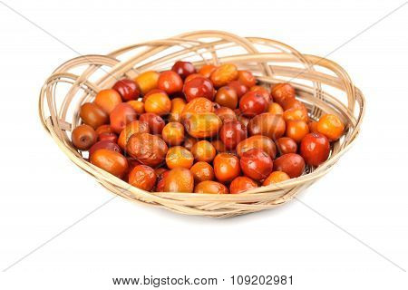 Ripe Jujubes In Basket Isolated On A White