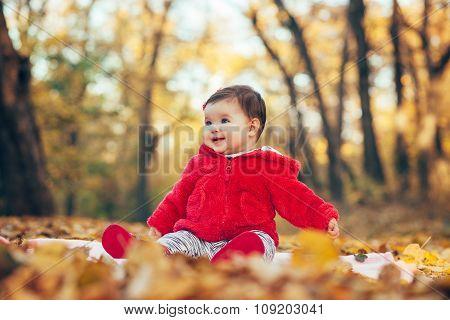 Little Baby Girl Sitting In Fallen Leaves