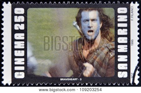 SAN MARINO - CIRCA 1995: A stamp printed in San Marino shows scene from the movie Braveheart