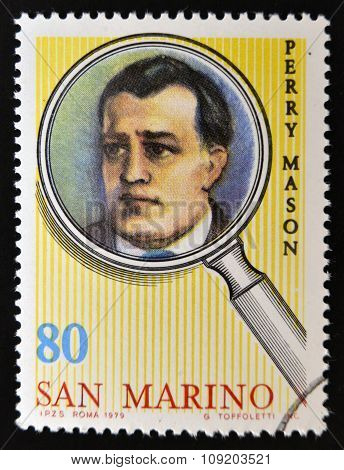 SAN MARINO - CIRCA 1979: A stamp printed in San Marino shows Perry Mason circa 1979