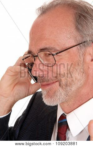 Closeuo Of Happy Businessman On Cell Phone.