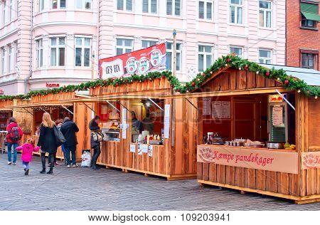 The Very Beginning Of The Christmas Market In Aarhus, Denmark