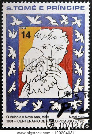 stamp printed in sao Tome shows the old and the new year by Pablo Picasso