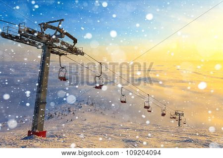 Ski Lift On Winter Day