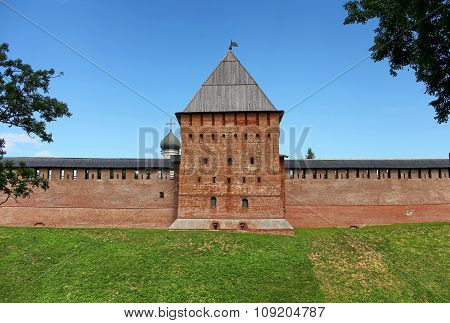 tower and wall of the Novgorod Kremlin