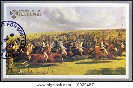 ST. KILDA. SCOTLAND - CIRCA 1980: A stamp printed in St. Kilda shows The Derby 1844 by Herring Senr