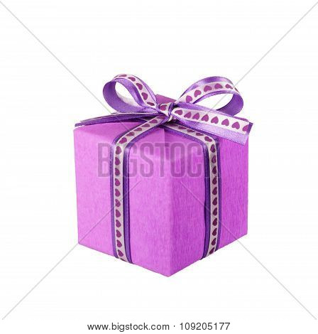 violet gift box with ribbon bow