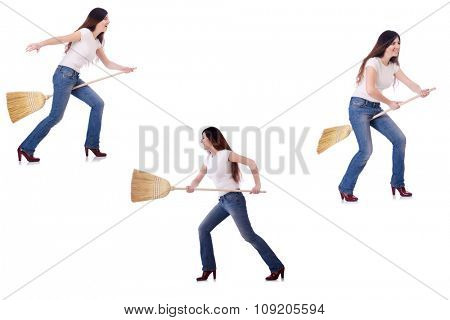 Woman with broom isolated on white