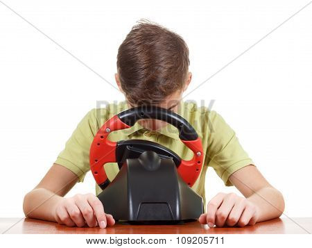 Tired Boy Plays A Driving Game Console, On White