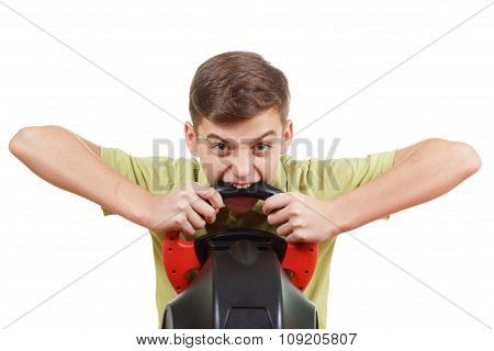 Angry Boy Plays A Driving Game Console, On White