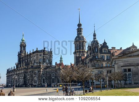 View Towards Dresden Castle And Cathedral From Sofienstrasse, Saxony, Germany.