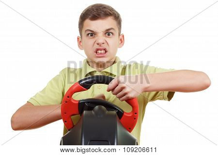 Angry Boy Plays A Driving Game Console, Isolated On White
