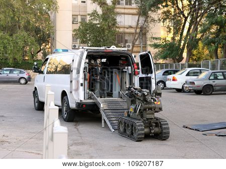 The Police Or Military Robot For Working With Bomb
