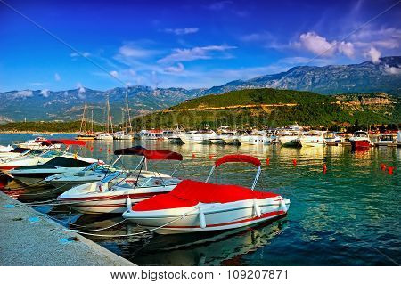 Boats On The Dock To The Sea In Montenegro Coast