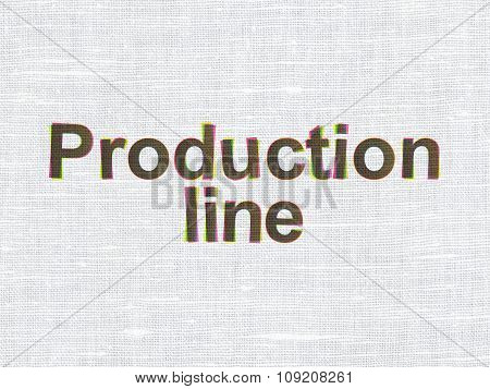 Manufacuring concept: Production Line on fabric texture background