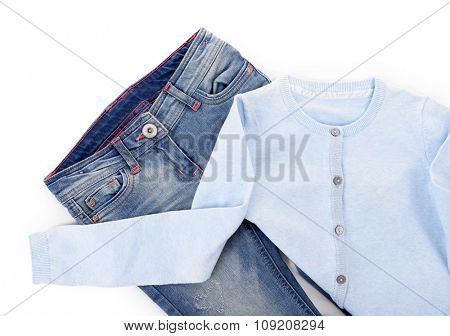 Blue jeans with jacket isolated on white background