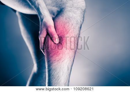 Calf pain physical injury. Male leg and muscle pain from running or training sport physical injuries