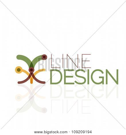 Outline swirl and circle minimal abstract geometric logo, linear business icon made of line segments, elements. Vector illustration of loop, inifnity concepts