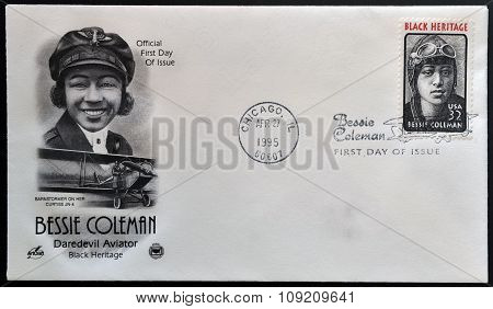 UNITED STATES OF AMERICA - CIRCA 1995: A stamp printed in USA showing pilot Bessie Coleman