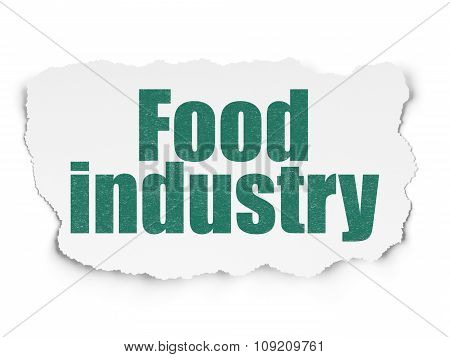 Manufacuring concept: Food Industry on Torn Paper background