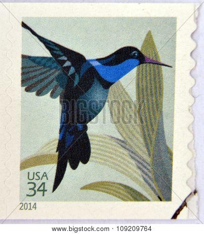 UNITED STATES OF AMERICA - CIRCA 2014: A stamp printed in USA shows Hummingbird circa 2014