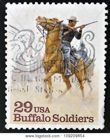 UNITED STATES OF AMERICA - CIRCA 1994: A stamp printed in USA shows Buffalo Soldiers circa 1994