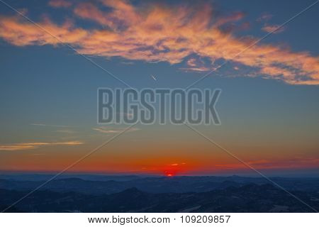 Sunset In Moutains