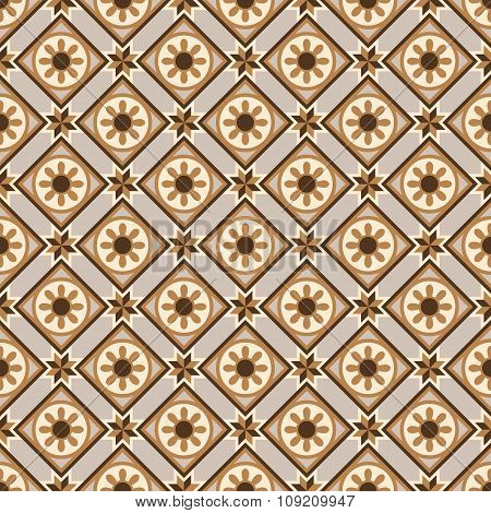 Seamless background image of vintage round flower shape pattern.