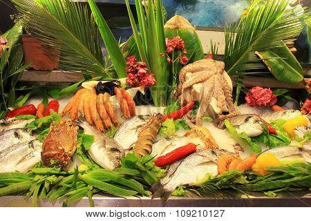 Display Of Fresh Fish And Seafood At Mediterranean Tavern