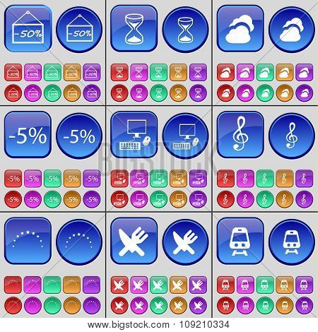 Discount, Hourglass, Cloud, Pc, Clef, Star, Cutlery, Train. A Large Set Of Multi-colored Buttons.
