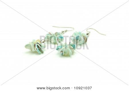 green twin-rounded beads earrings