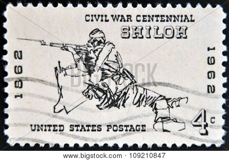 stamp printed in the USA shows soldier from American civil war in the Battle  of Shiloh