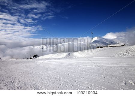 Ski Slope At Nice Day