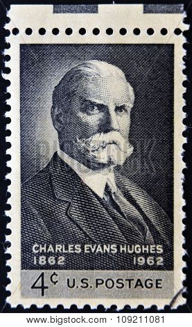 A stamp printed in USA shows portrait of Charles Evans Hughes